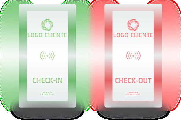 Fke check-in/out con la personalizzazione col logo del cliente